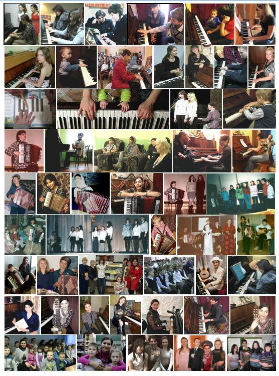 Виктория Юдина на очных уроках с учениками пианино